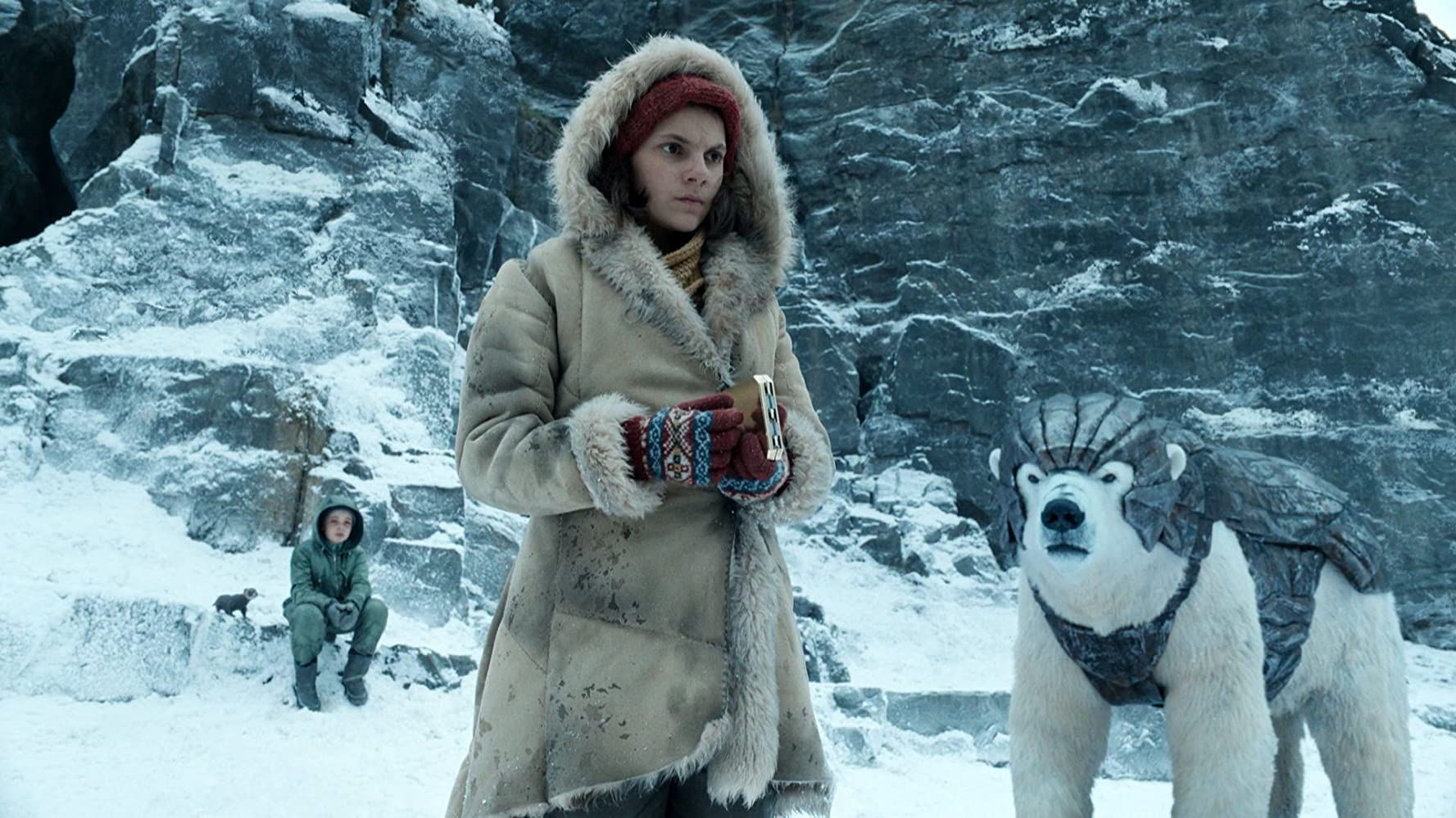 Lyra and a panserbjørne, or armoured polar bear, in His Dark Materials