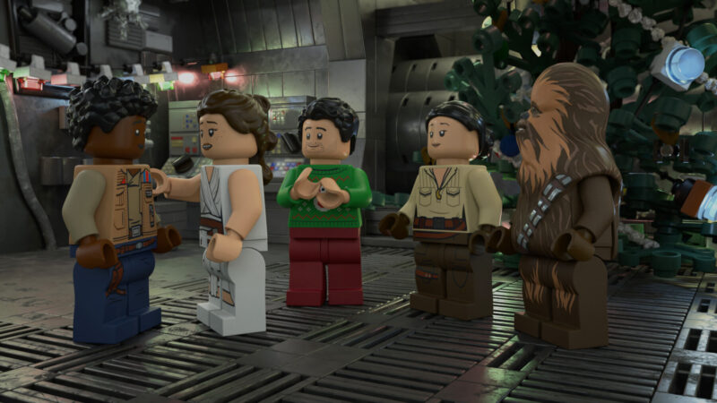Coming to Dinsey+ UK November 2020: Join the Lego versions of Rey, Finn, Poe, Chewie, Rose and the droids for a joyous Life Day celebration (c) Disney/Lego