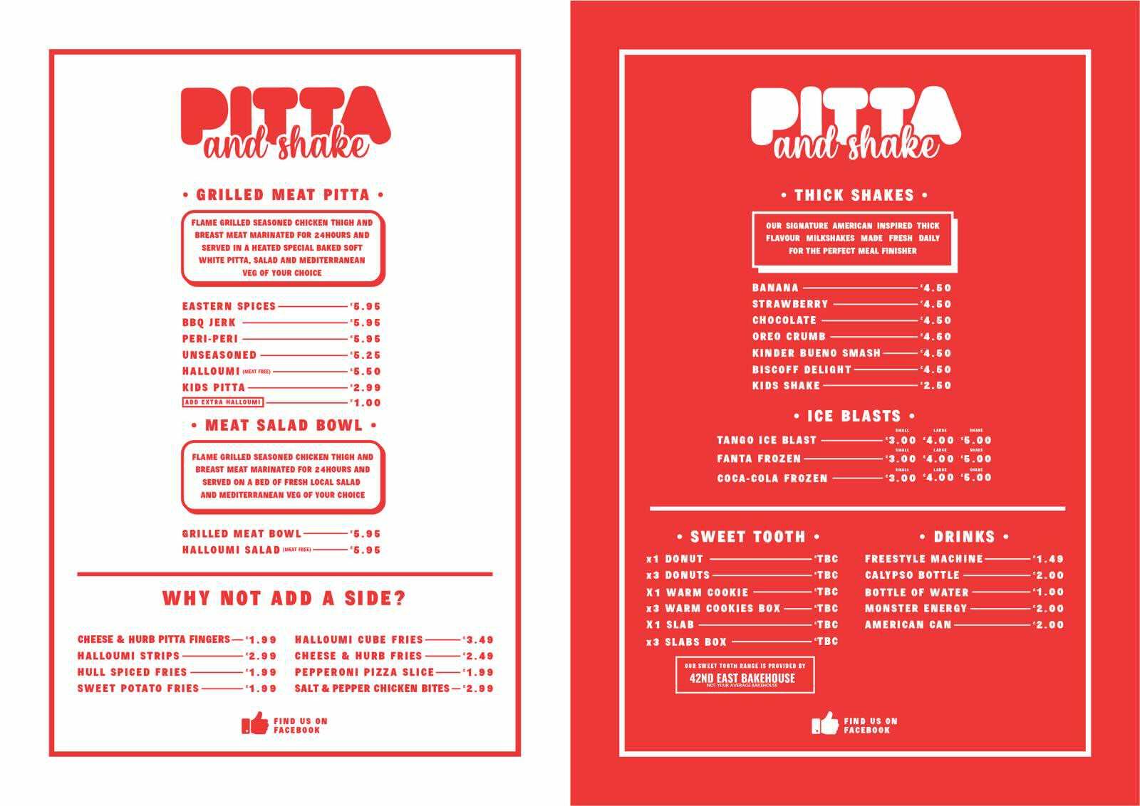 The new menu at Pitta and Shake restaurant, St Stephen's, Hull City Centre